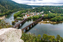 Harpers Ferry A The Confluence Of The Potomac And Shenandoah Rivers On A Cloudy Day