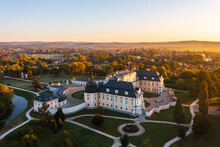 Beautiful Autumn Sunrise At The Famous L'Huillier-Coburg Palace In Edelény Which Is The Seventh Largest Palace In Hungary. Built Between 1716 And 1730. Hungarian Name Is Edelényi Kastélysziget.
