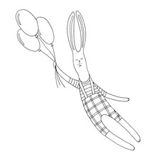 A Hare In Checkered Pants Flies On Balloons. Animal. Rabbit. Cartoon Character. Fairy Tale. Fantasy. Vector. Doodle. Drawn By Hand. Silhouette. Black And White Outline. Coloring.