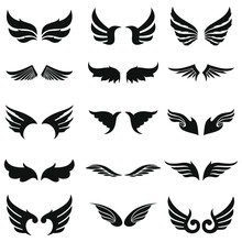 Vector Wings For Addition To Emblem-themed Logo Projects With A Variety Of Good Shapes, Suitable To Be Combined With Various Object Shapes Circle, Triangle, Square, Oval, Etc.