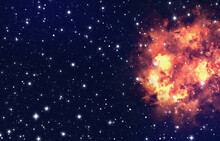 Bright Explosion Flash On A Space Background. Fire Burst