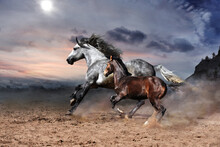 A Romantic Scene Of A Rapidly Galloping Horse With A Foal Against The Backdrop Of Harsh Mountains