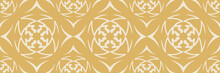 Decorative Background Pattern With Floral Ornaments On Gold Background In Vintage Style. Seamless Pattern For Wallpaper, Texture. Vector Image