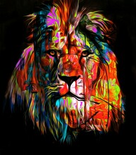 Lion Abstract Background With Multicolour Splashes