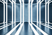 Creative Blue Interior With Illuminated Lines. Future And Architecture Concept. 3D Rendering.