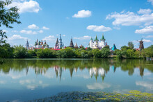 Castle Kremlin In Izmailovo And Its Reflection In The Serebryano-Vinogradny Pond In Moscow, Russia