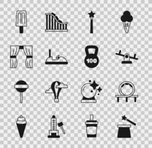 Set Magic Hat And Wand, Roller Coaster, Seesaw, Bumper Car, Circus Curtain Raises, Ice Cream And Weight Icon. Vector