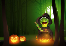 Cartoon Illustration Of A Witch Stirring Potion In The Cauldron In The Dark Scary Woods