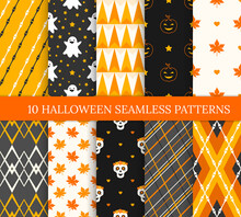 Ten Halloween Different Seamless Patterns. Endless Texture For Wallpaper, Web Page Background, Wrapping Paper And Etc. Smiling Pumpkins And Ghosts, Skulls, Bones, Leaves And Lines