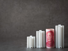 Chinese Yuan Banknote And Apartment Miniature Model