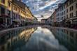 canvas print picture - Winterthur Altstadt Spiegelung