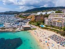 Spain, Balearic Islands, Mallorca, Aerial View Of Portals Nous, Beach Platja De S'Oratori