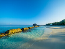 Maledives, Ross Atoll, Beach, Bank Reinforcement In Water, Marine Conservation