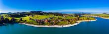 Germany, Bavaria, East Allgaeu, Fuessen, Schwangau, Dietringen, Aerial View Of Lake Forggensee