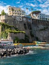Italy, Campania, Sorrento, Cliff Coast And Hotels