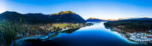 Germany, Bavaria, Upper Bavaria, Kochel Am See, Panoramic View Of Lake Walchen In The Evening