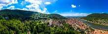 Germany, Baden-Wurttemberg, Heidelberg, Panorama Of Heidelberg Castle, Old Town And Forested Hills In Summer
