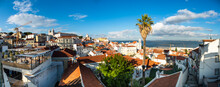 Portugal, Lisbon, Alfama, View From Miradouro De Santa Luzia Over District With Sao Vicente De Fora Monastery, River Tagus, Panoramic View