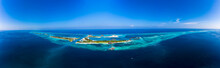 Maldives, Aerial Panorama Of Olhuveli And Bodufinolhu Islands In Summer