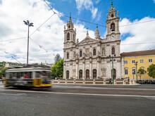 Portugal, Lisbon, Facade Of Estrela Basilica With Tram In Foreground