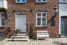 Denmark, Ribe, Facade Of Brick Town House