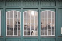 Germany, Hamburg, Ovelgonne, Port On River Elbe Reflected In Window