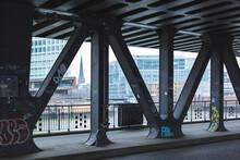 Germany, Hamburg,ÔøΩBridge Girders Covered In Graffiti