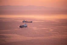 Ships On The Aegean Sea At Sunset