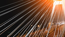 Bridge Pylons Illuminated In Bright White At Night, Wroclaw Poland, Aerial View