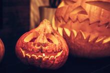 Halloween Scary Jack O Lantern Pumpkin Background