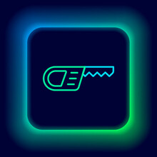 Glowing Neon Line Reciprocating Saw And Saw Blade Icon Isolated On Black Background. Colorful Outline Concept. Vector