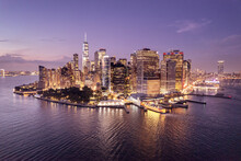 View Of Waterfront And Financial District At Night, Manhattan, New York, USA