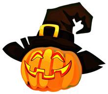 Halloween Pumpkin Jack O Lantern With Witch's Hat