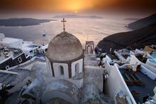 Panoramic View Of Oia, Santorini, Greece