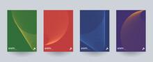 Modern Minimal Brochure Templates. Wavy Linear Patterns Composition.