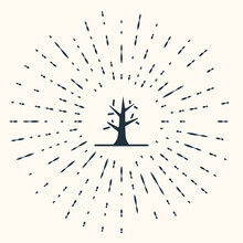 Grey Bare Tree Icon Isolated On Beige Background. Abstract Circle Random Dots. Vector
