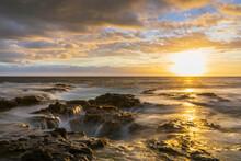 USA, Hawaii, Big Island, Kona, Pele's Well, Blowhole At Aunset