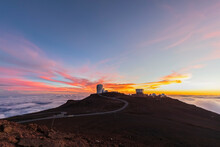 View From Red Hill Summit To Haleakala Observatory At Dusk, Maui, Hawaii, USA