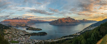 New Zealand, Otago, Queenstown, Panorama Of Lakeshore TownÔøΩwith Cecil Peak And Walter Peak In Background