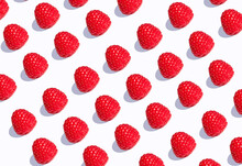 3D Illustration, Raspberries In A Row On White Background