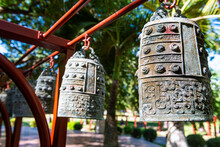 China, Hainan, Sanya, Large Ornate Bells Inside Nanshan Temple