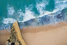 Portugal, Algarve, Lagoa, Drone View Of Cliff And Beach At Praia Da Marinha