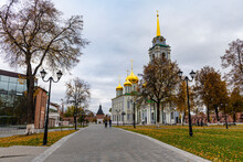 Russia, Tula Oblast, Tula, Footpath Across Public Park In Front Of All Saints Cathedral
