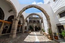 Greece, South Aegean, Patmos, Archways In Monastery Of Saint John The Theologian