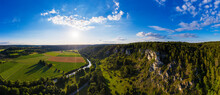 Germany, Bavaria, Kipfenberg, Drone Panorama Of Altmuhl Valley Nature Park In Spring