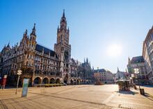 Germany, Bavaria, Munich, Sun Shining Over Deserted Marienplatz