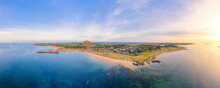 UK, Scotland, North Berwick, Drone View Of Firth Of Forth And Coastal Town In Summer