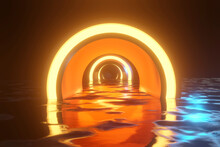 3D Illustration Of Yellow Glowing Arch Tunnel On Water In Dark At Night