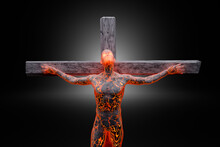 3D Illustration Of Male Character Symbolizing Crucified Jesus Made Of Energy And Concrete