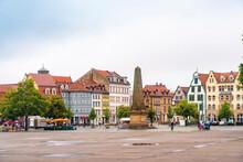Germany, Erfurt, Obelisk At Domplatz With Historic Houses